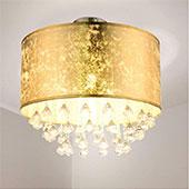 Etc-shop Kristall Deckenlampe Blattgold