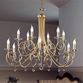 Kronleuchter Violetta gold, 12-flammig